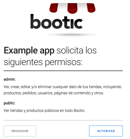 Bootic auth authorize screen